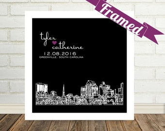 Personalized Wedding Gift Art Greenville Skyline Print FRAMED Greenville, SC Any City Worldwide Unique Newlywed Gift Valentines Day Gift