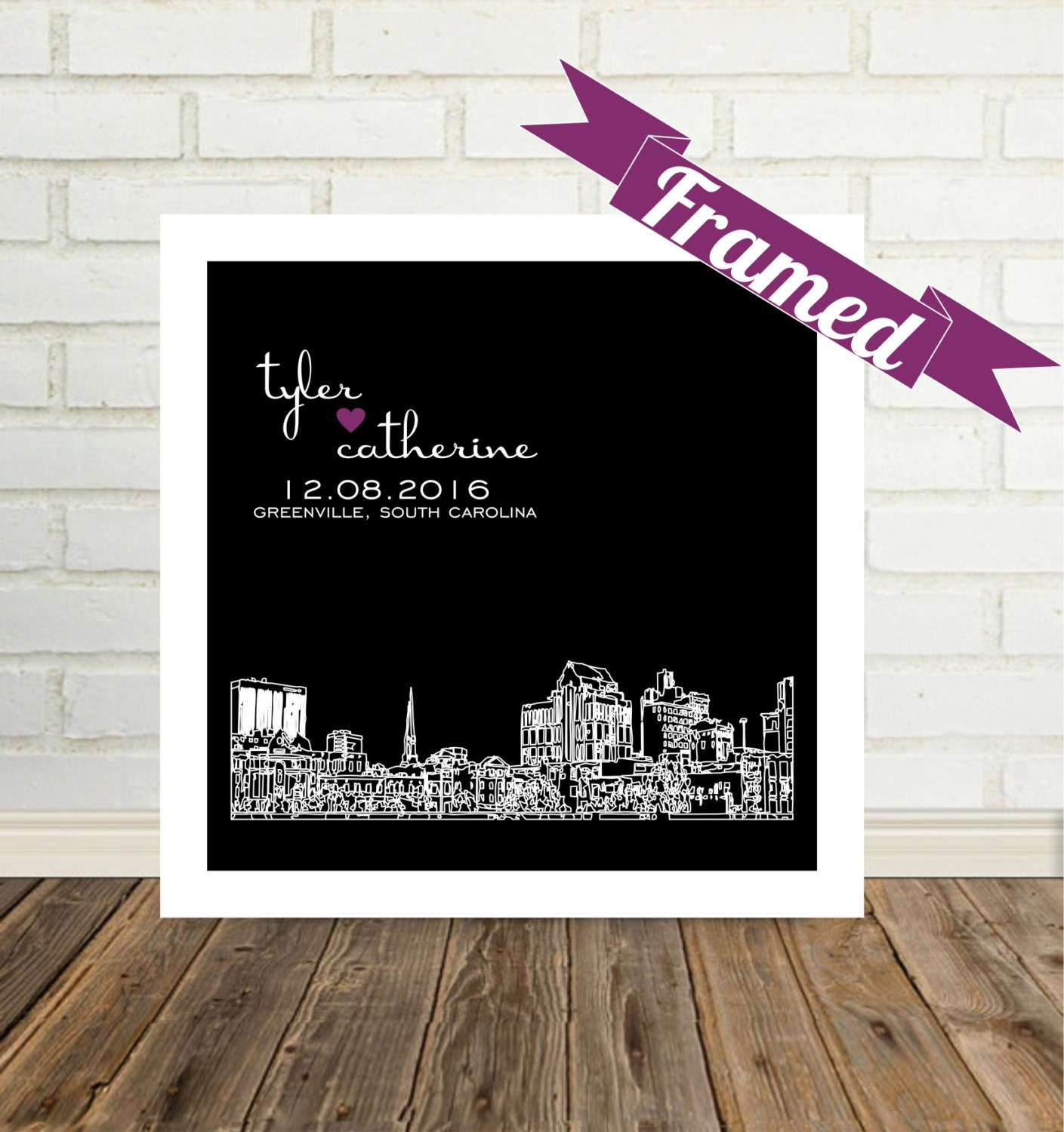 Personalised Wedding Gift Art : Personalized Wedding Gift Art Greenville Skyline Print FRAMED