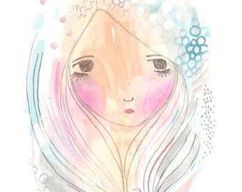 Silver grey hair girl art original watercolor painting winter ice