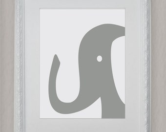 Elephant, Gray and White, Instant Download, Nursery Wall decor, Nursery Wall Art- File Download