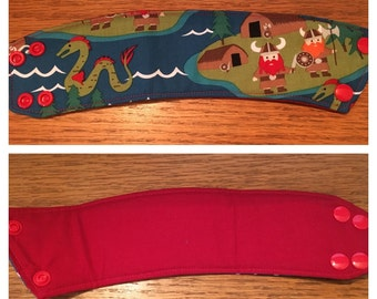 SALE *45% OFF* Reversible Coffee/Tea Cozy Sleeve, Thermally Insulated - Vikings and Sea Monster