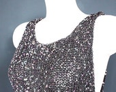 Silver Grey Metallic Sleeveless Top