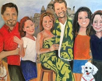 Vicki's Beautiful Family  30 x 40 Original Oil Painting by Marlene Kurland  Sold