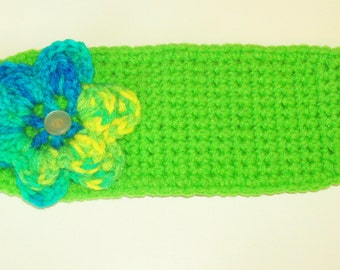CLEARANCE Toddler Girl's Flower Headband Earwarmer - Lime Green with Variegated Flower - 1 to 3 years Adjustable