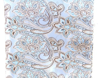 Men's Micro Fiber Paisley silver Handkerchief, for Formal Occasions (569J)