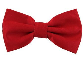 Men's Solid Red Pre-Tied Bowtie, for Formal Occasions