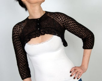 Black Lacy Handmade Bolero Knit Baby Alpaca Shrug Wedding Wrap Lace Cardigan Cobweb Luxury Design Women Bridal Bolero LIMITED - KB0010
