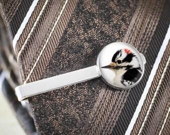 Downy Woodpecker Tie Clip - Silver Bird Tie Bar, Woodpecker Jewelry, Nature Jewelry, Woodpecker Bird Tie Clip, Nature Tie Bar, Bird Gift Men
