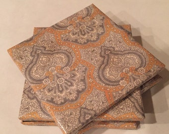 Yellow and Gray Damask Inspired Ceramic Coasters