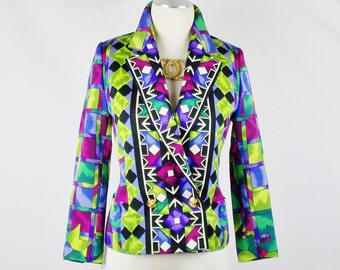 Vintage GIANNI VERSACE ISTANTE Multicolor Funky Eclectic Blazer Jacket Embellished Buttons Sz 40