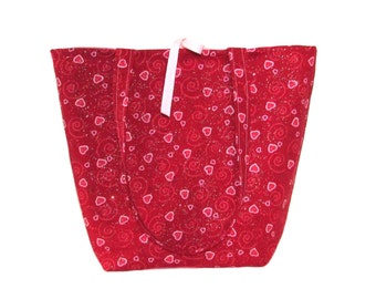 Heart Tote Bag, Cloth Purse, Handmade Handbag, Red, Pink, Hearts, Swirls, Fabric Bag, Shoulder Bag
