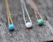 OPAL BEAD NECKLAE - October jewelry - opal necklace - tiny opal necklace - dainty opal necklace - pink gold, yellow gold, silver