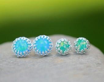 Fancy Opal STUD Earring ~ Opal Earrings - Gallery Bezel Opal earrings - October Earrings - October Jewelry