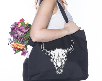 Buffalo Skull Canvas Tote - Screen Printed Cotton Grocery Bag - Large Canvas Shopper - Reusable Grocery Tote Bag