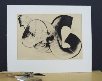 "Etching Art Print . Minimalist Home . Black and White: ""Stroke"" . Print Size 10.5"" x 13"" . Unframed"
