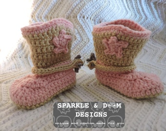 Cowboy Boot Booties, crochet, made to order