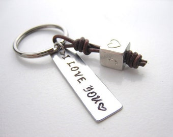 Roman numeral, stamped message charm, cube charm, 3D cube, Leather key chain charm