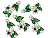 5 ENAMEL FLOWER LILY Charms, Black Center, Gold Tone Metal Rhinestone Pendants . che0499