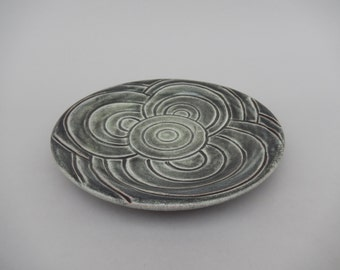 Pottery Serving Platter -  Hand Carved Circular Pattern - Earthenware - Charcoal Gray