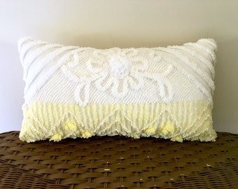 yellow pillow cover 10 X 18 EDELWEISS yellow vintage chenille cushion, cottage chic pillow case, shabby yellow pillow sham, yellow nursery