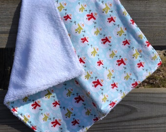 "Security Blanket - Baby Lovey - 19"" x 18"" Flannel and Super Plush Fabric - Shower Gift"