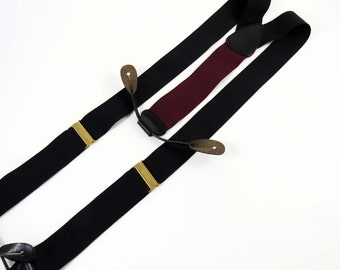 Vintage TRAFALGAR  Suspenders / Braces / Black w Woven Black Leather Button Holders & Shiny Brass Adjusters / Great Gift Idea!!