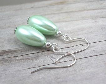 mint green pearl earrings glass drop mint green jewelry  wedding bridesmaid earrings