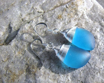 sea glass ear rings Caribbean blue seaglass beach glass jewelry  earrings-bridesmaid earrings- teardrop  earrings