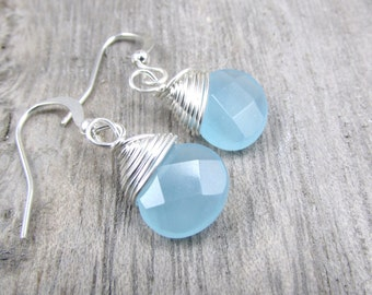 blue chalcedony wire wrapped earrings-tiny gemstone earrings-bridesmaid earrings