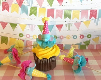 Little Blue Elephant Cupcake Toppers/Circus Party/Circus Cupcakes