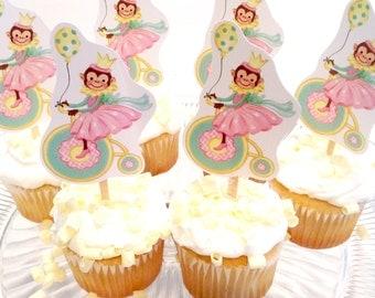 Monkey Riding Bike Cardstock Cupcake Toppers/One Dozen