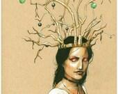 Green Apple Crown, Art Print, fairy faerie drawing fantasy print