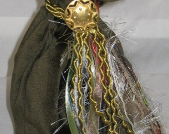 Large Tarot Bag - Moss Green and Batik, runes, tarot cards, gift bag, treasure keeper