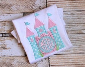 Custom Monogrammed Princess Castle Applique Shirt - Tank Top - Short Sleeve or Long Sleeve T-shirt or Onesie