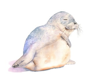 Seal watercolor print, Seal watercolor painting, S4716, 5 by 7 size small print, Contemporary Coastal wall art, beach house decor