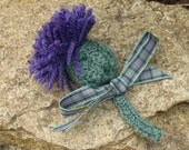 Made to order. Scottish Thistle brooch. Hand knitted thistle with flower of Scotland tartan bow trim. New Year Hogmanay accessory.