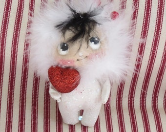 OOAK cloth doll ,  Tiny snow baby , Christmas ornament , gift for her, Christmas decor .