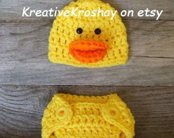 Rubber Duckie / Duck Hat & Diaper Cover  - (Newborn-3mo/3-6mo sizes)