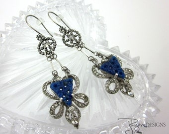 Repurposed Earrings Rhinestone Earrings Dangle Earrings, Unique Assemblage Jewelry Antique Cut Steel, Blue Earrings JryenDesigns