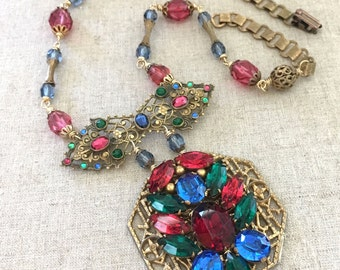 Repurposed Rhinestone Necklace - Rhinestone Statement Necklace - Czech Rhinestone Blue Red Green - One of a Kind Jewelry