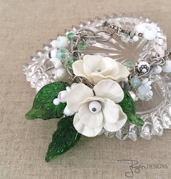 Shabby Chic Bracelet - Vintage Assemblage Flower Bracelet - White Beaded Charm Bracelet - One of a Kind OOAK Jewelry Bracelet
