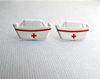 50's Nurse Hat Stud Earrings,  nurses RN, Medical, WW2
