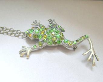 Green Rhinestone Frog Necklace or Broach