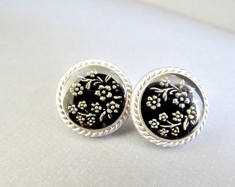 Japanese Black Cherry Blossom Design Stud Earrings