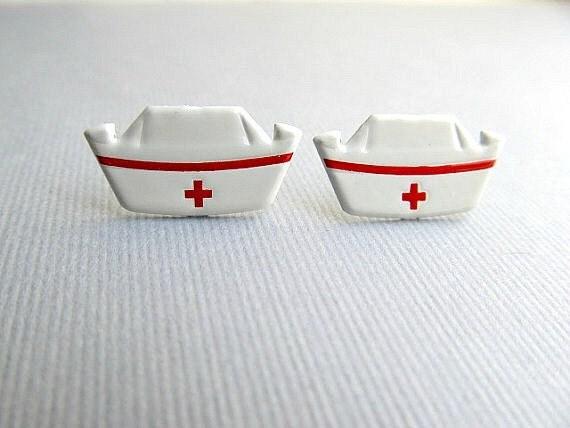 50's Nurse Hat Stud Earrings,  nurses RN, Medical, WW2