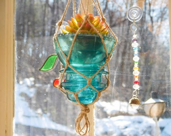 Aqua Blue Vintage Glass Insulator Hanging Vase Candle Holder Bohemian Boho Outdoor Lighting Macrame Plant Hanger