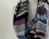 Handwoven Saori Infinity Scarf, Handwoven Linen, Silk, Wool and Gold Lurex, Twisted Fringes