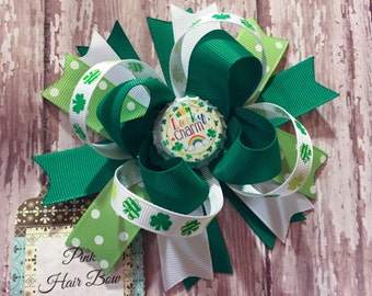 St. Patrick's day Hair Bow - Lucky Hair Bow - Shamrock Hair Bow  - Clover Hair Bow - Baby's First St. Patrick's Day - Pink Hair Bow Boutique