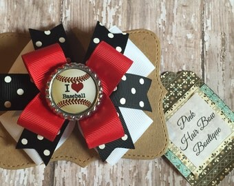 Red black and white Baseball hair bow , 4 inch baseball bow , choose your team colors
