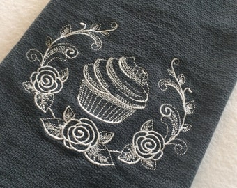Cupcake and Sugar flowers towel, Cupcake huck towel, Grey huck Towel, Towel Embroidery, Cupcake kitchen, Cupcake decor